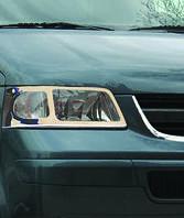 Volkswagen T5 Transporter 2003-2010 гг. Накладки на передние фары (2 шт, нерж) OmsaLine - Итальянская нержавейка