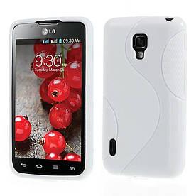 Чехол TPU S формы на LG Optimus L7 II Dual P715 Белый