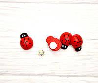 Декоративные деревянные божьи коровки, 0,9 см*1,3 см, цвет красный, фото 1