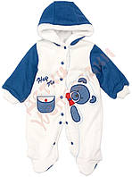 """Комбинезон осенне-весенний для мальчика с капюшоном """"Мишка"""" """"Bestido"""", белый с синим, 68(56-68), 68 см"""