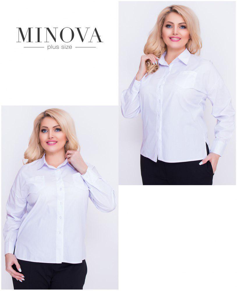 Классическая женская рубашка прямого кроя, коттон (S, M, L, XL, XXL, XXXL)