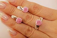 Комплект серебряных украшений с золотом и розовыми фианитами