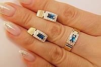 Нарядный комплект серебряных украшений с синими и белыми камнями, фото 1