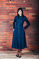 Джинсовое женское платье длины миди. Размер 40-52