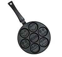 Сковорода оладниця ТМ Биол d=24 с антипригарным покрытием, Смайл