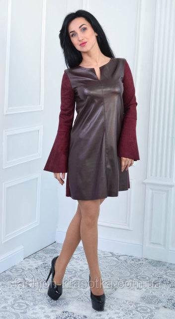 0adbf1af38684dd Молодежное замшовое платье цвета марсала, с кожаным передом - Интернет  магазин