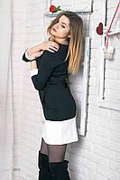 Классическое черное платье приталенного силуэта, с белой вставкой