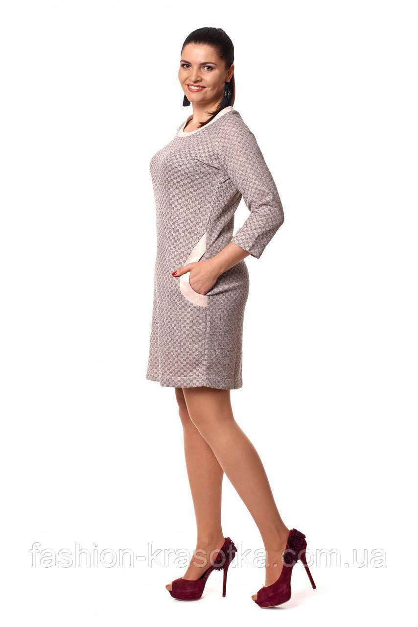 80819f27a482111 Модное бежевое платье прямого кроя, с карманами. Размеры: 46-52 - Интернет