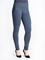 Модные темно-синие лосины из плотного трикотажа