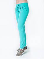 Бирюзовые женские брюки оригинального кроя