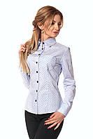 Качественная котонова рубашка, голубого цвета с принтом точечки