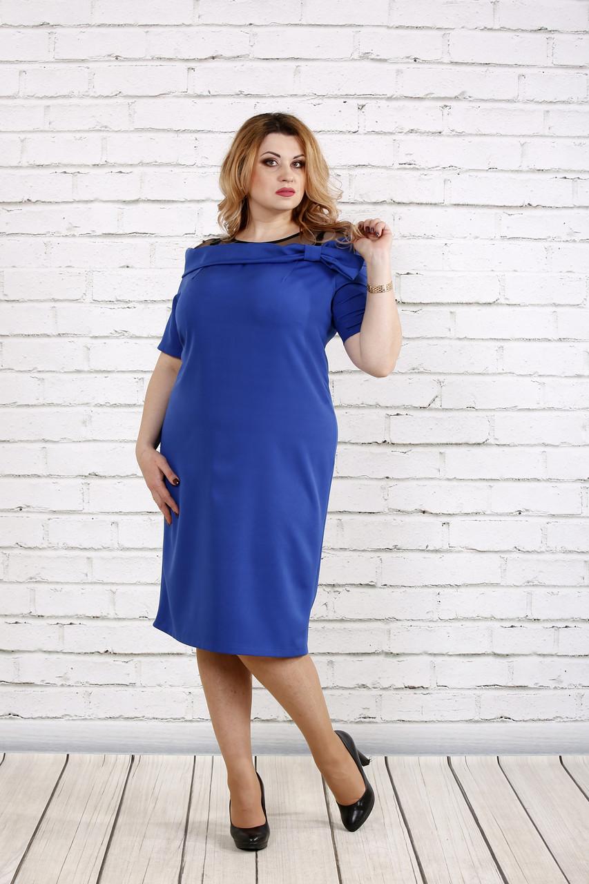Платье из костюмки электрик   0734-3