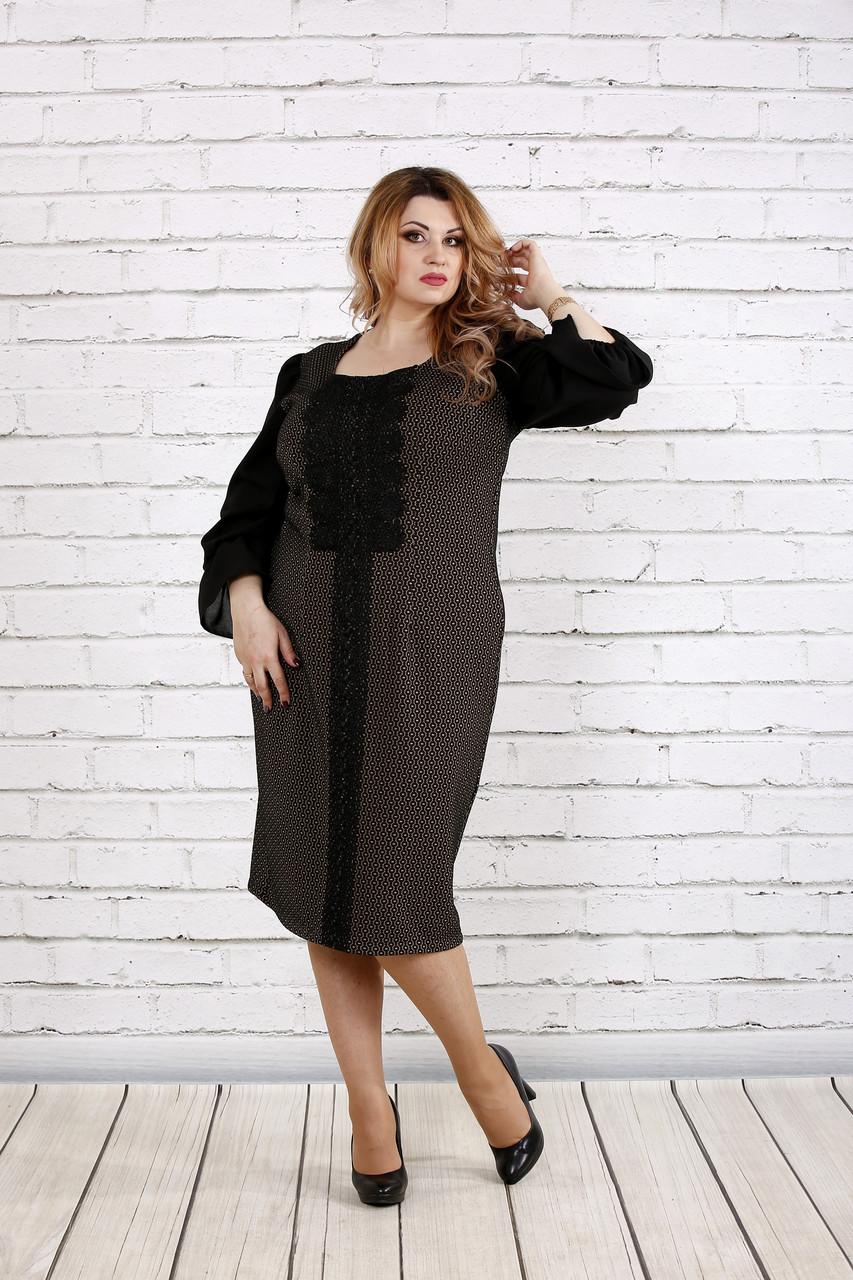 Темное платье с бежевым   0746-2