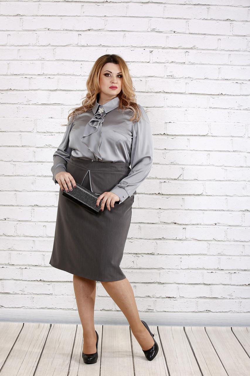Стальная шелковая блузка | 0750-1