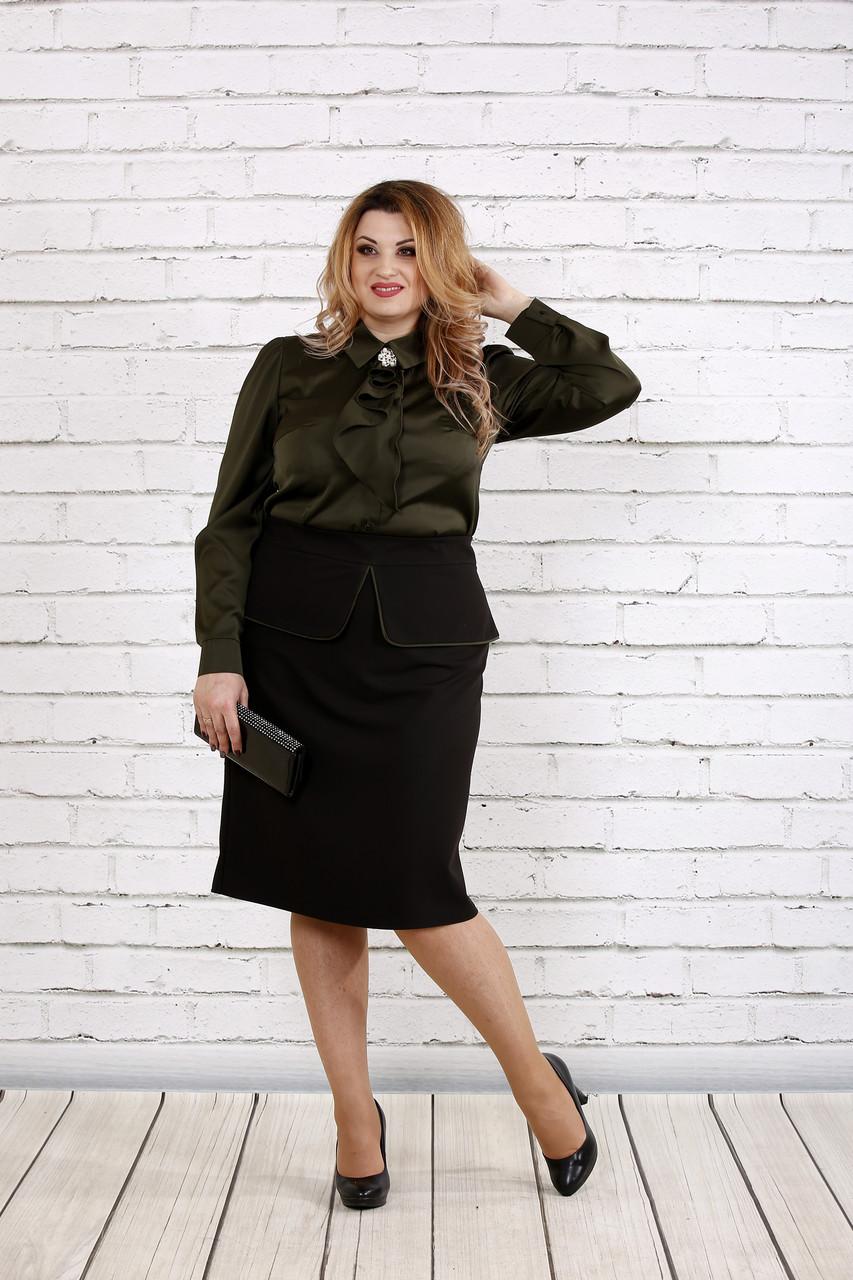 Блузка из шелка цвета хаки | 0750-2