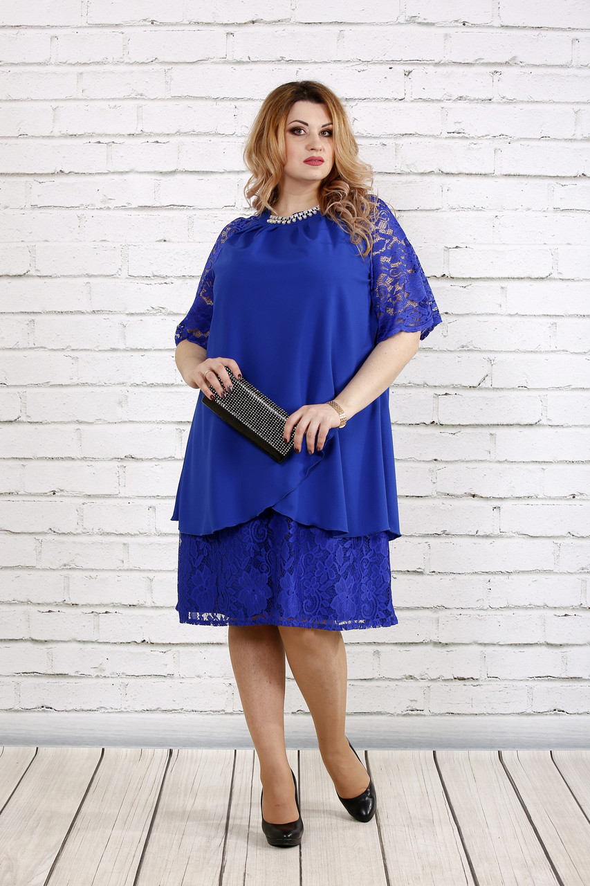 Платье с гипюром цвета электрик   0751-1