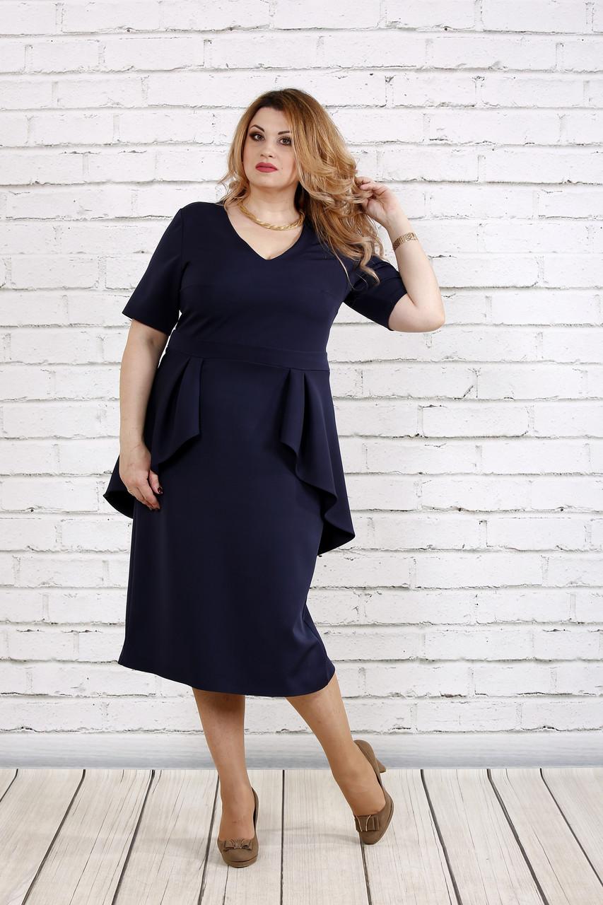 Темно-синее простое платье | 0752-2