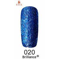 Гель-лак F.O.X. gold Brilliance № 0020, ярко-синий