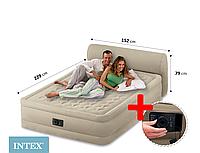 Двуспальная надувная кровать со спинкой интекс 64460 king size+ встроенныйэлектро насос 152-229-56