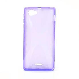 Чехол TPU S формы на Sony Xperia J ST26i Фиолетовый