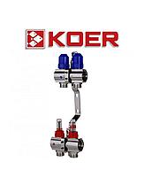 """Колекторний блок з термодатчиком і витратоміром Koer KR.1110-02 1""""x2 WAYS"""