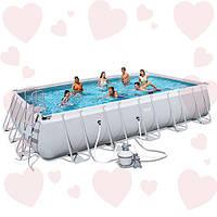 Прямоугольный каркасный бассейн Bestway 56471 671х366х132 см + полная комплектация с песочным фильтром