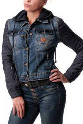 """Женская куртка джинсовая с капюшоном """"M. Sara"""" (A 950) купить оптом по низкой цене"""