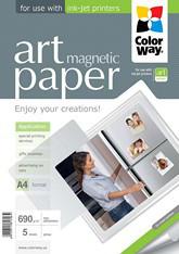 """Фотобумага ColorWay ART глянцевая """"магнитная"""" 690 г/м², A4, 5 л"""