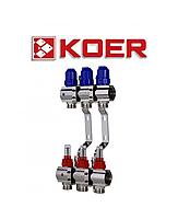 """Коллекторный блок с термодатчиком и расходомером Koer KR.1110-03 1""""x3 WAYS"""