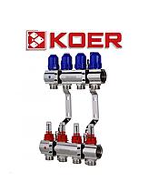 """Колекторний блок з термодатчиком і витратоміром Koer KR.1110-04 1""""x4 WAYS"""