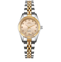 Наручные женские часы с золотистым ремешком