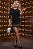 Короткое классическое платье из костюмной ткани с вышивкой 42-48 размера