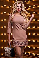 Короткий класичне плаття з костюмної тканини з вишивкою 42-48 розміру, фото 1