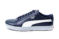 Мужские кожаные кеды Puma SUEDE Blue leather, фото 1