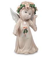 Фарфоровая фигурка Ангел (Pavone) с цветочным веночком JP-05/ 7