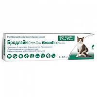 Капли на холку от блох и глистов для котов Broadline Merial (Бродлайн Мэриал) 2,5-7,5 кг ( 1 шприц )