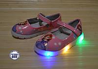 Детские туфли для девочки со светящейся подошвой 27-31 принцесса София