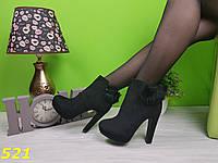 Ботинки на каблуке деми с натуральной меховой опушкой