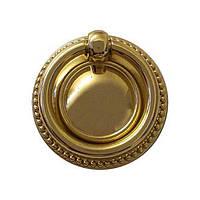 Ручка кольцо на подложке современная классика URB-12-101, глянцевое золото, d=60 мм., фото 1