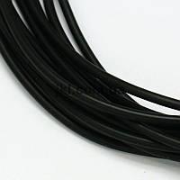 Шнур резиновый полый внутри, 3 мм, цвет черный