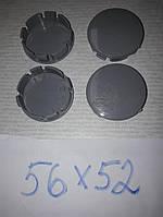 Ковпачки, заглушки на диски сірі 56 мм / 52 мм без бортика, фото 1