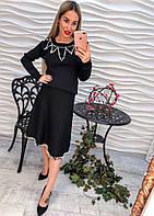 Женский костюм кофта и юбкой с жемчугом машинная вязка черный, розовый