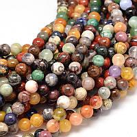 Нитка разных камней, 8 мм, ~49 шт / нить, натуральные камни, бусины, на нитке, разноцветные, заказ делайте через сайт в описание товара