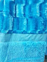 Плед покрывало меховое Норка двухстороннее 200*230.Голубое.