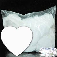 Конфетти сердечки белые. Размер: 35мм. Вес:50гр.