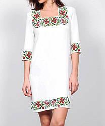 Заготівля жіночого плаття чи сукні для вишивки та вишивання бісером Бисерок «Віночок з гвоздик» (П-139 )