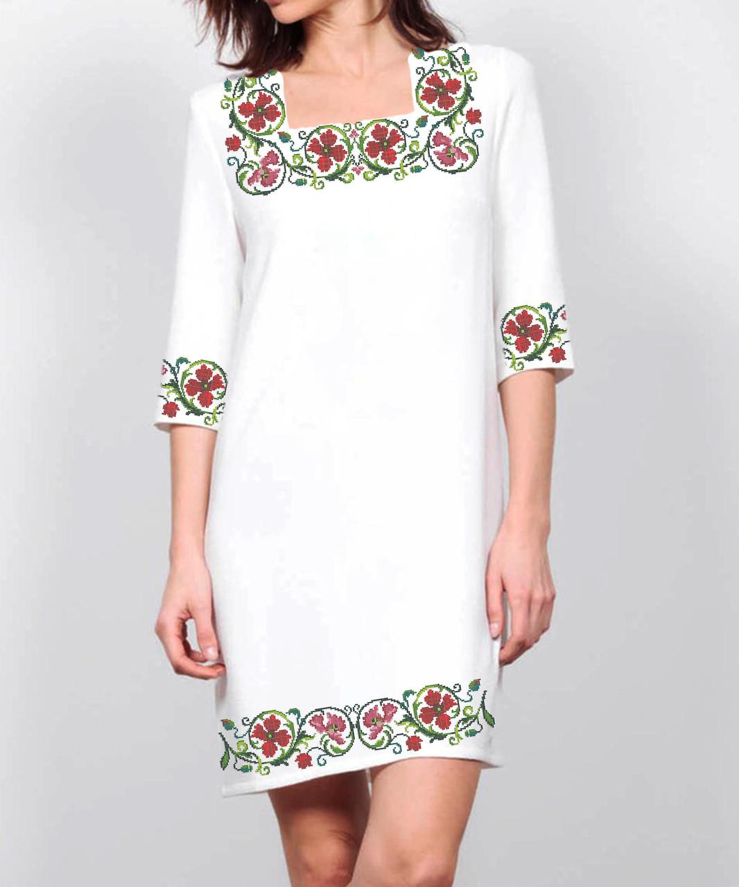 Заготовка жіночого плаття чи сукні для вишивки та вишивання бісером Бисерок  «Віночок з гвоздик» (П-139 ГБ) Габардин