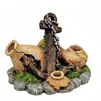 Декор в аквариум Керамика Якорь с бочкой 7,5*6,5*7см