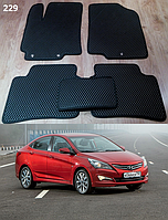 Коврики на Hyundai Accent (Solaris) '14-17 рестайлинг. Автоковрики EVA