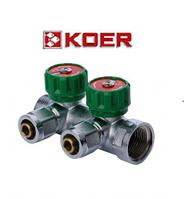 """Koer 1122-2 1"""" x2 WAYS коллектор вентильный с фитингом"""